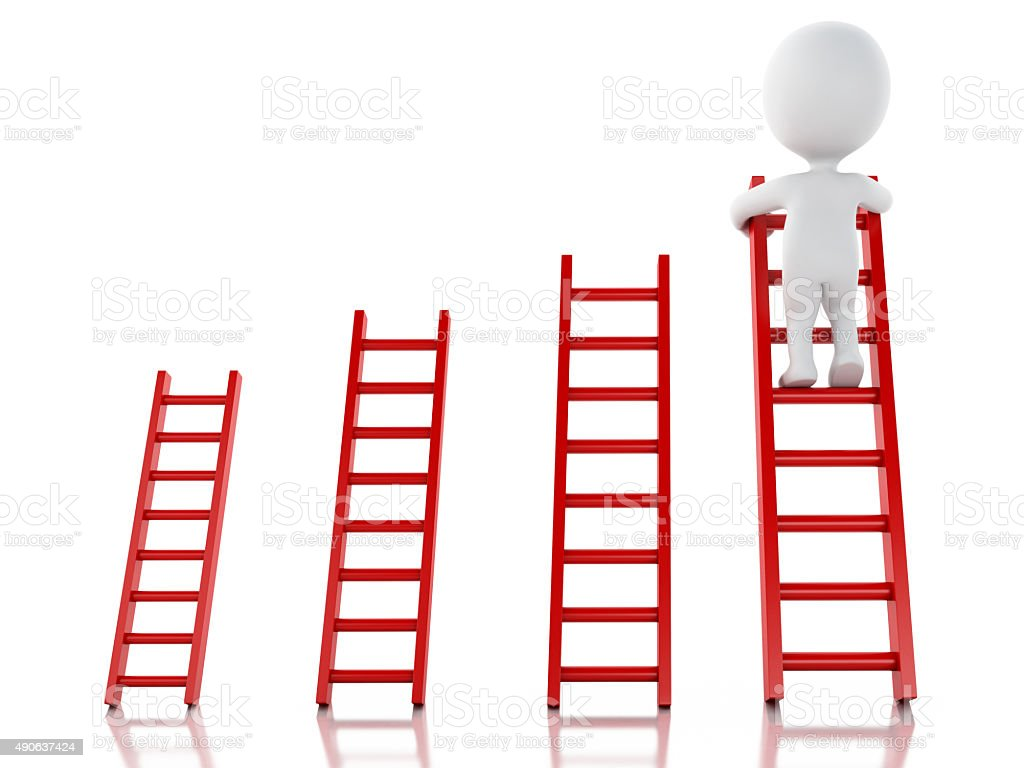 3d White People Climbing Ladder Success In Business Royalty Free Stock Photo