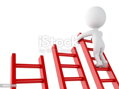 istock 3d White people climbing ladder. Success in business. 490637466