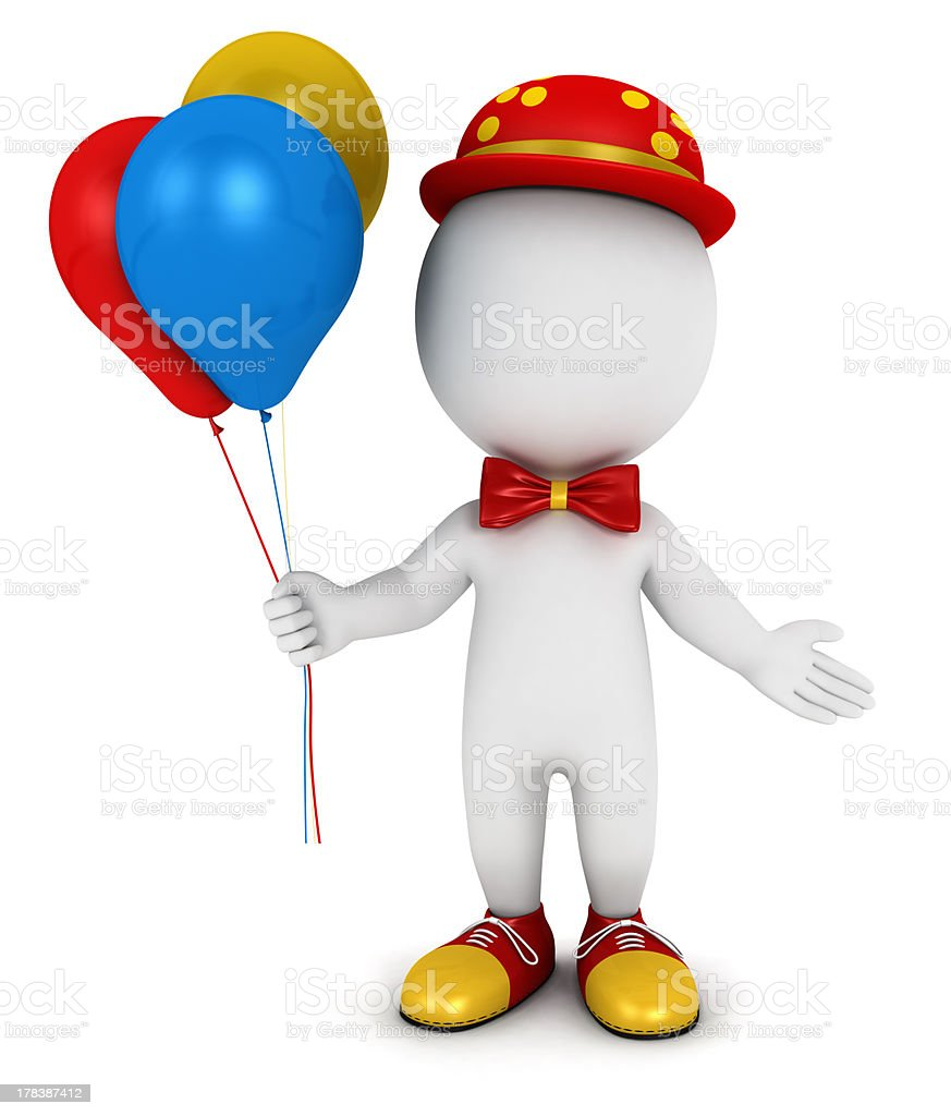 3d white people clown royalty-free stock photo