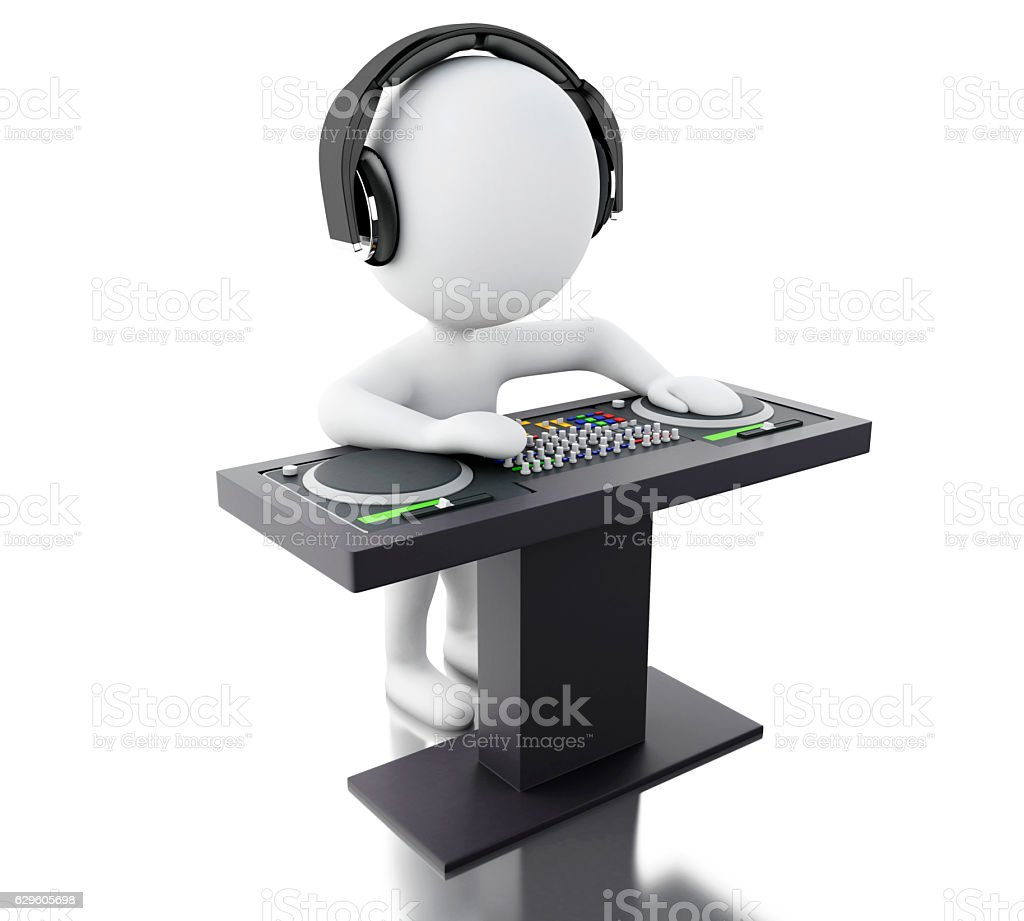 3d White people DJ with mixer and headphones. stock photo