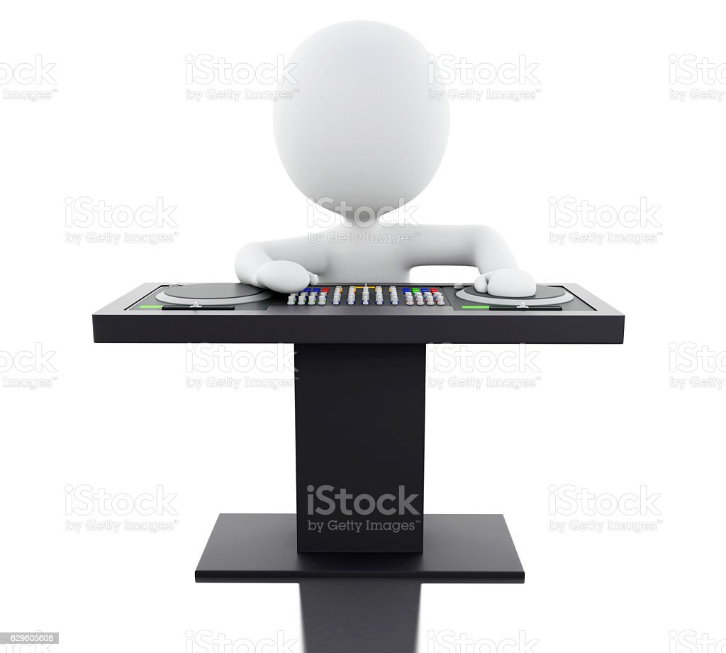 3d White people DJ with mixer. stock photo