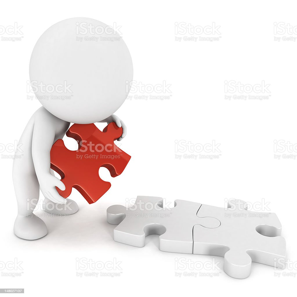3d white people doing puzzle royalty-free stock photo