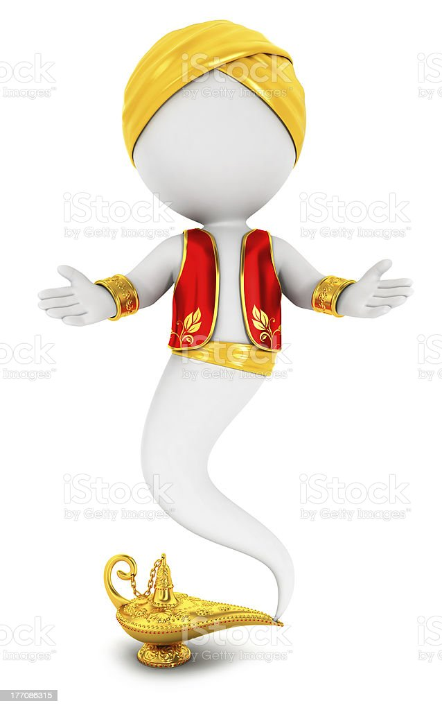 3d white people genie of the lamp stock photo