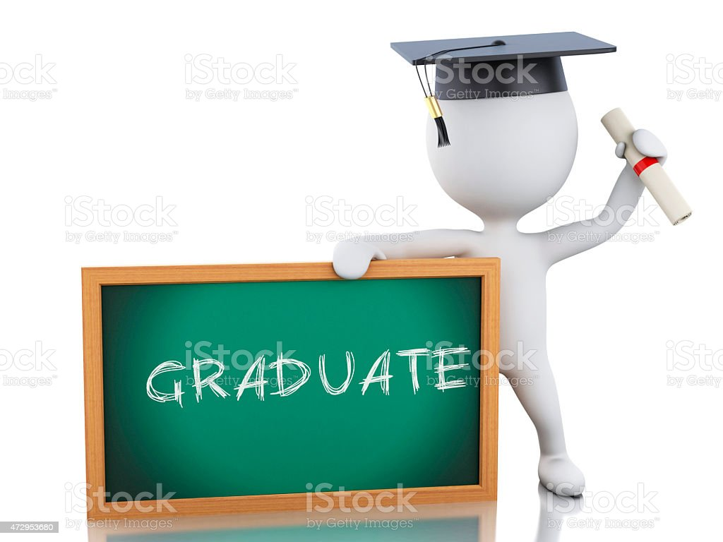 3d white people graduate with diploma and blackboard. stock photo
