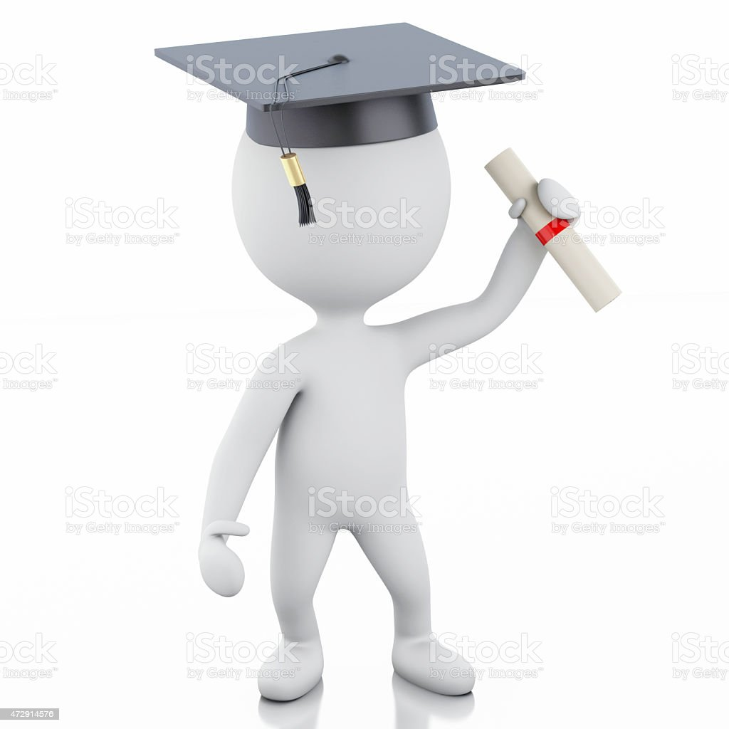 3d white people graduate with diploma and graduation cap stock photo