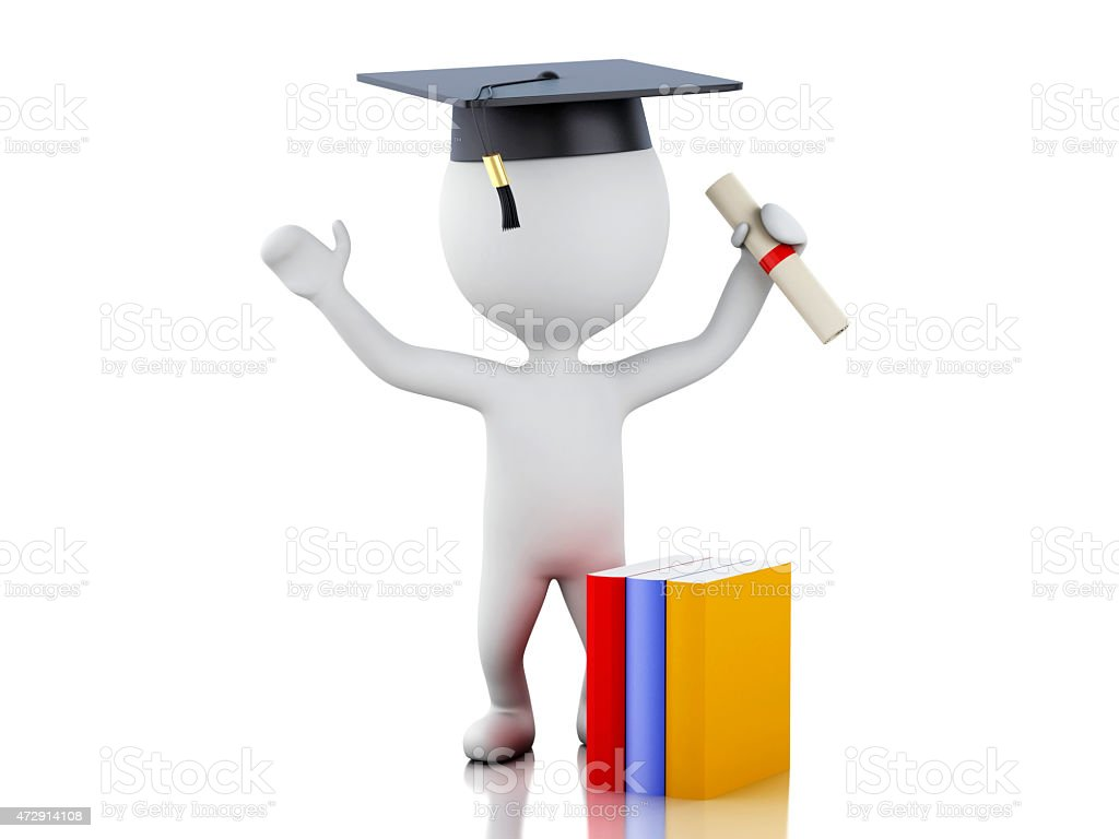 3d white people graduate with diploma, graduation cap. stock photo