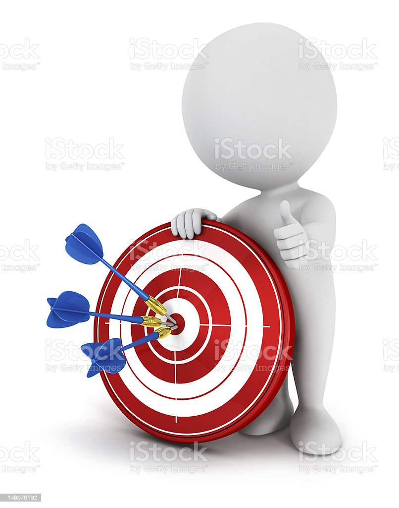 3d white people hit the target royalty-free stock photo