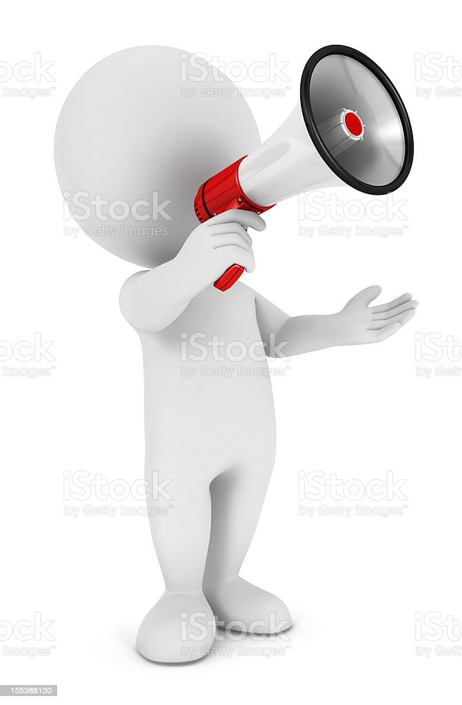 3d white people megaphone stock photo