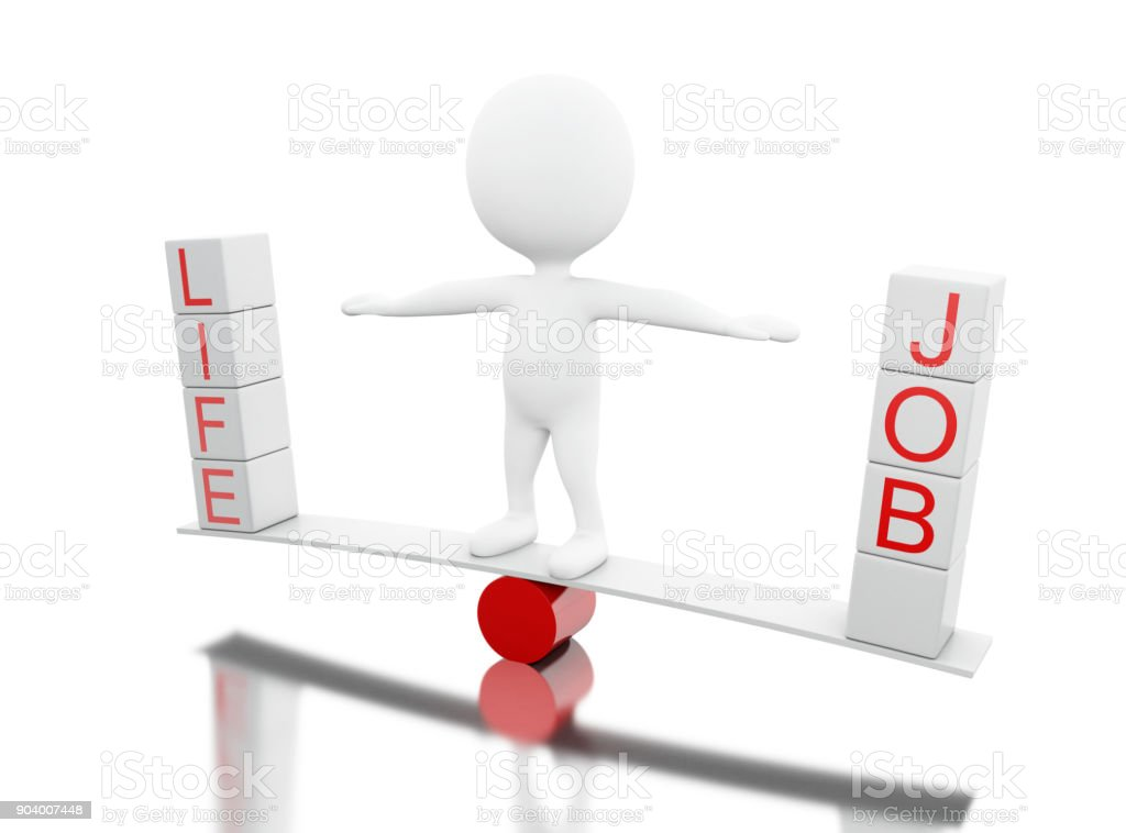 3d White people on a balance with the words LIFE or JOB stock photo