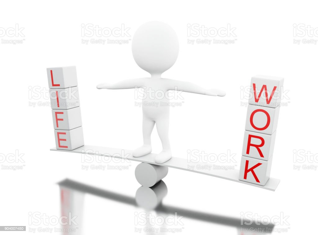 3d White people on a balance with the words LIFE or WORK stock photo