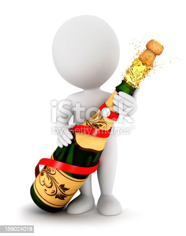 istock 3d white people opens a champagne bottle 159024018