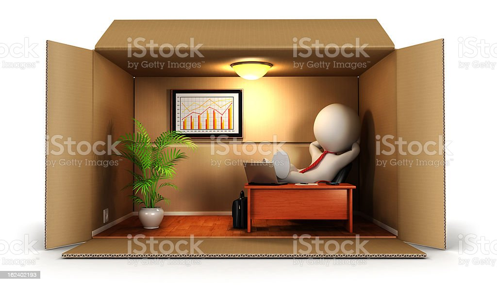 3d white people opens his business stock photo