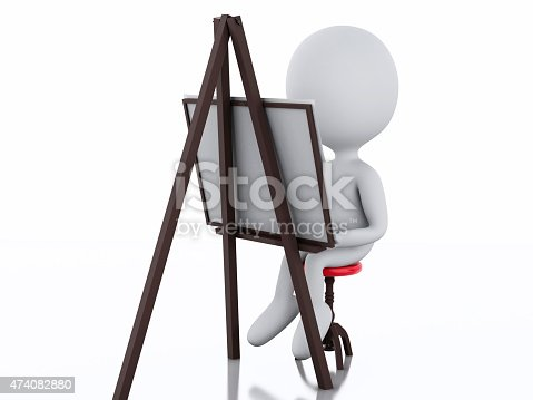 istock 3d white people painter with an easel 474082880