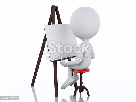 istock 3d white people painter with an easel 474082882