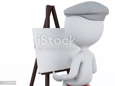 istock 3d white people painter with an easel 474099548