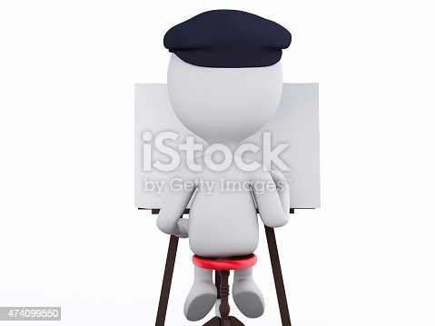 istock 3d white people painter with an easel 474099550