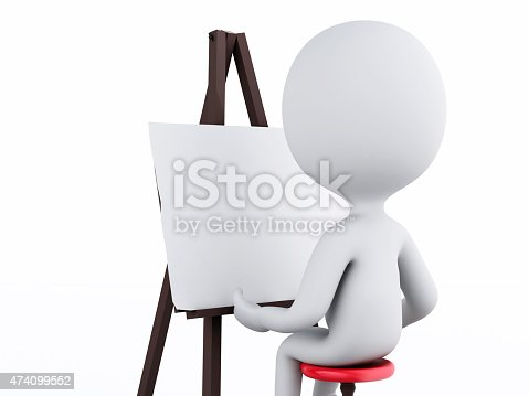 istock 3d white people painter with an easel 474099552