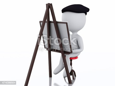 istock 3d white people painter with an easel 474099554