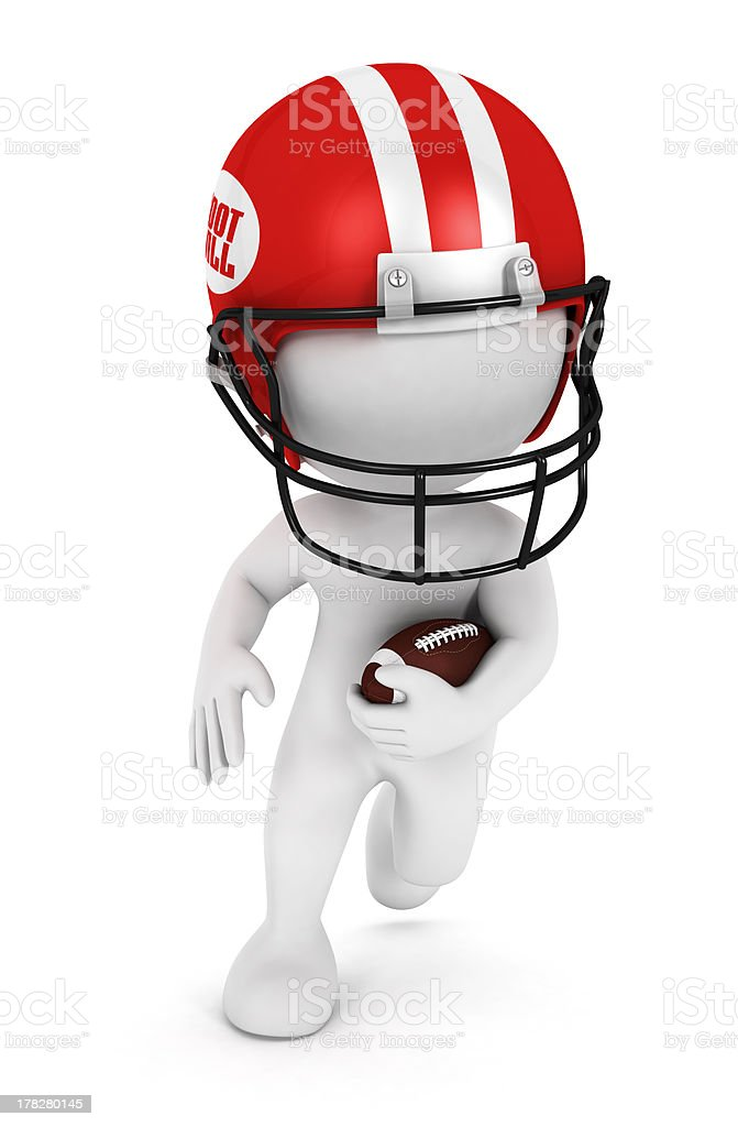3d white people playing american football royalty-free stock photo