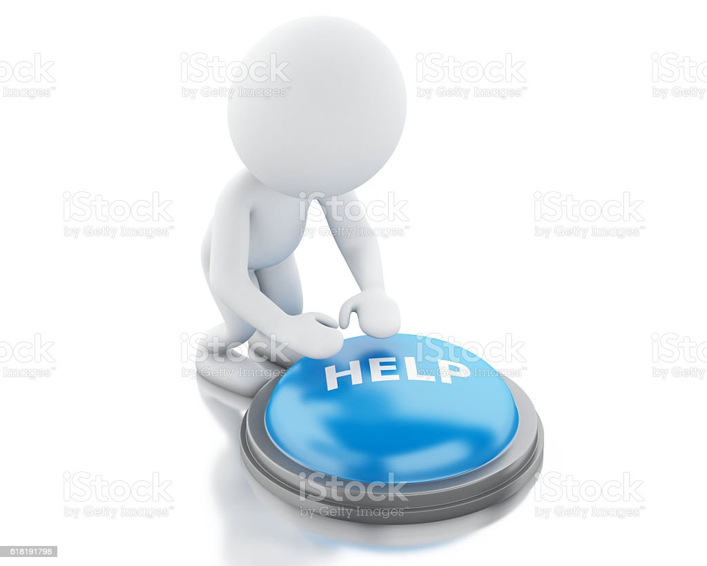 3d white people push HELP button. stock photo