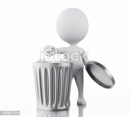 istock 3d white people recycle trash can. 470017214