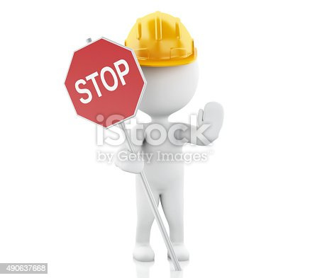 istock 3d white people standing and holding a stop sign. 490637668