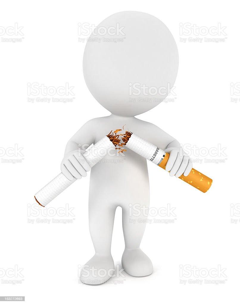 3d white people stopped smoking stock photo