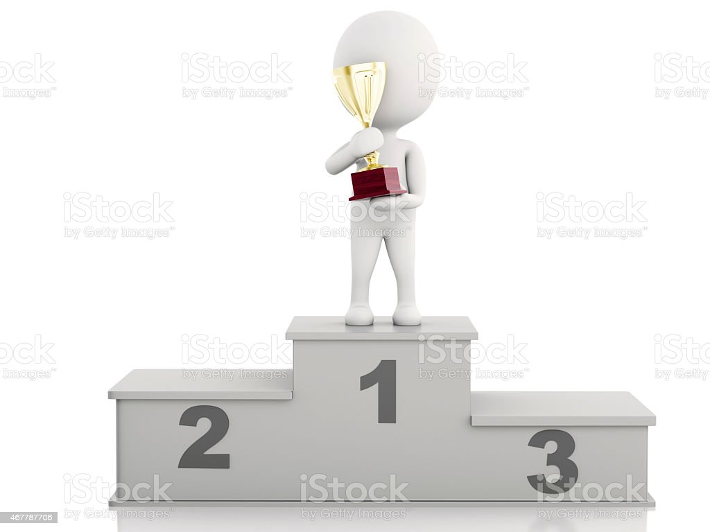 3d white people Winner on sports podium  with trophy. stock photo