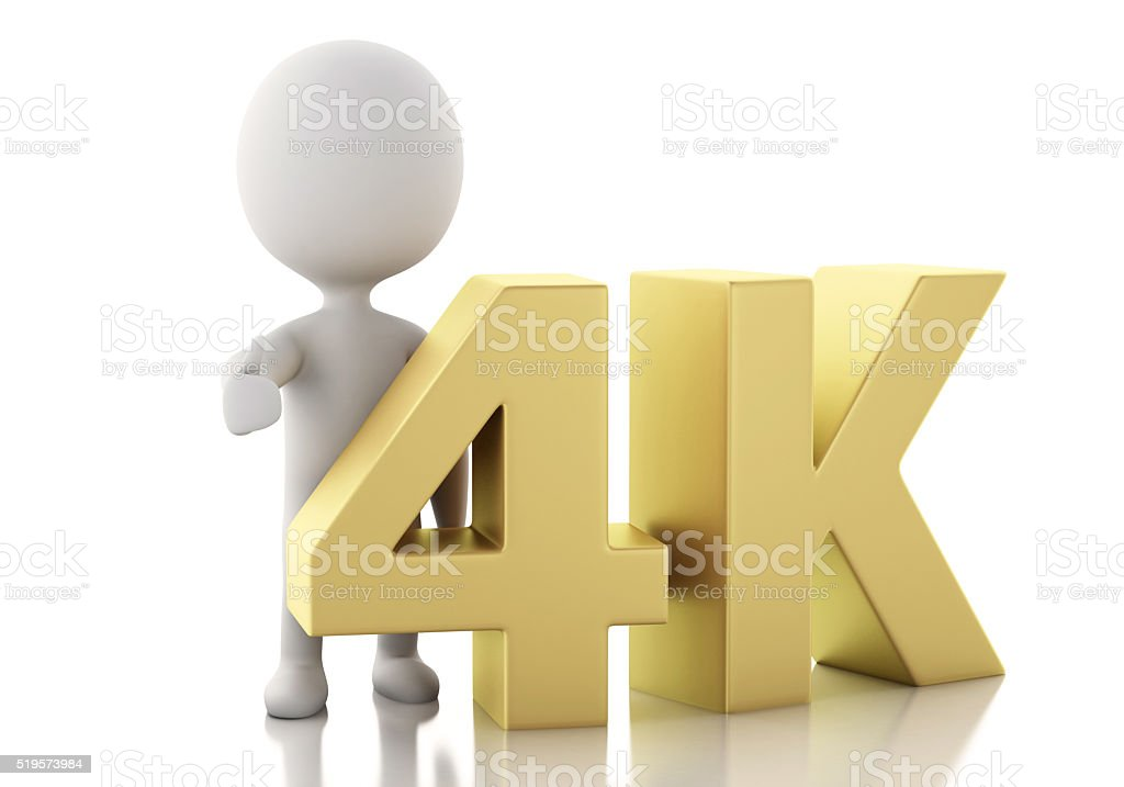 3d white people with 4K UltraHD TV. stock photo