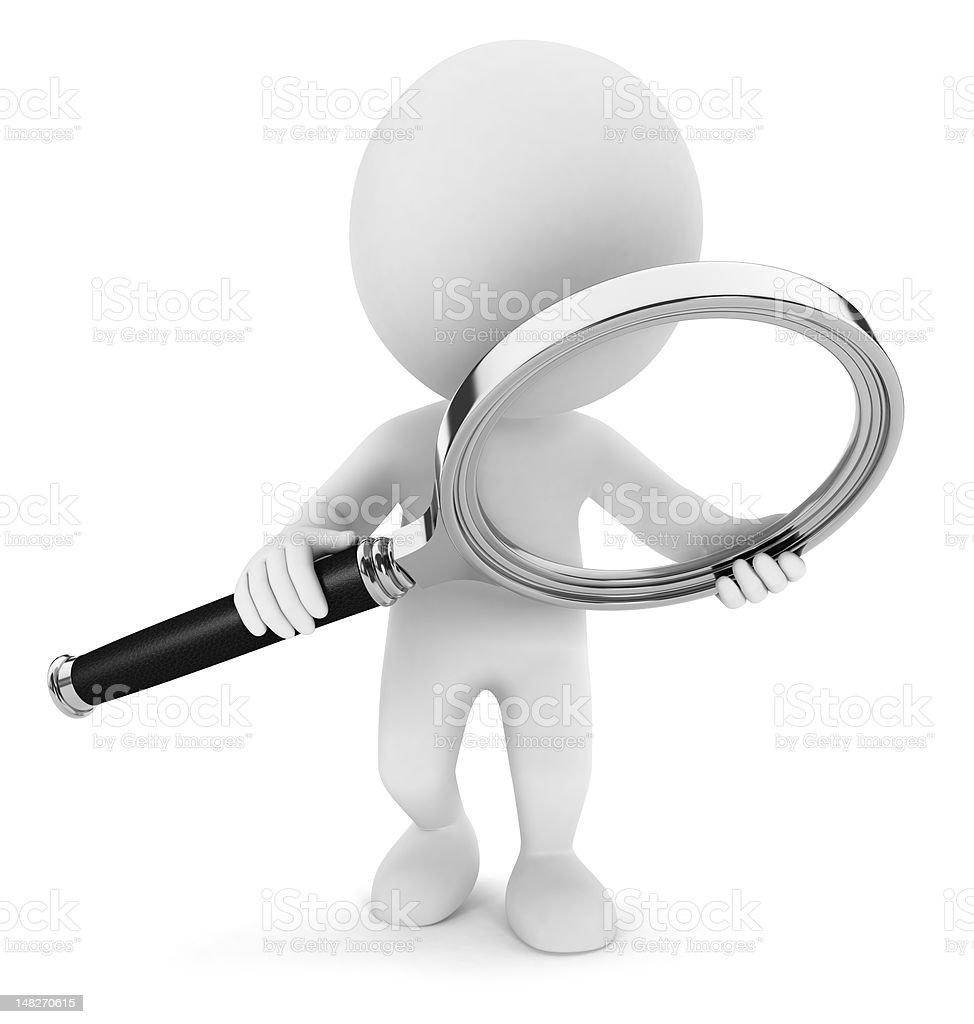 3d white people with a magnifying glass royalty-free stock photo