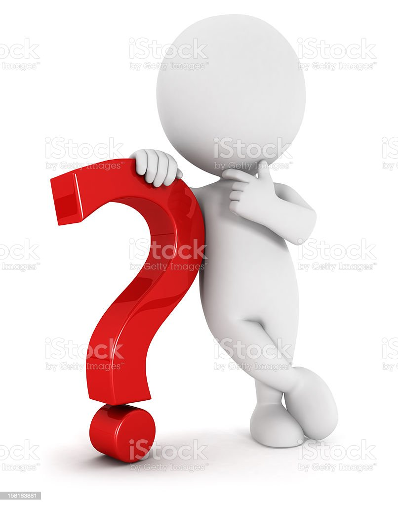 3d white people with a question mark stock photo