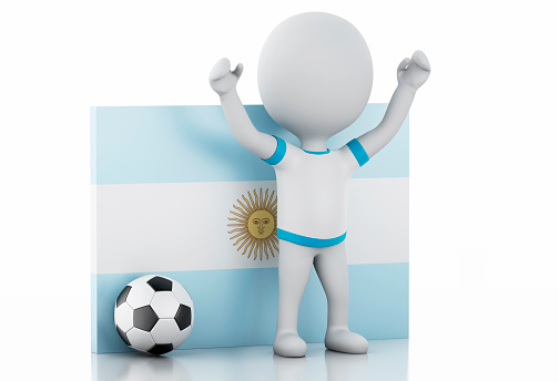 istock 3d white people with Argentina flag and soccer ball. 474105500