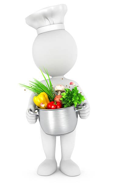 3 d weiß personen mit kochtopf - chefkoch auflauf stock-fotos und bilder