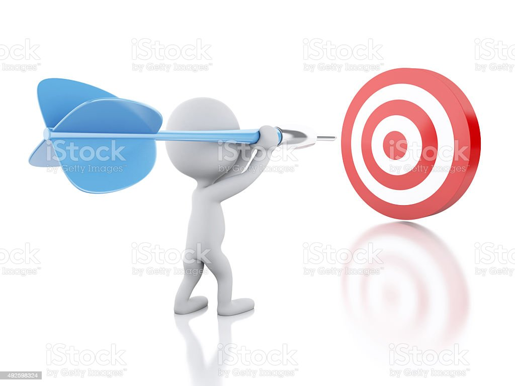 3d White people with dart and target. Success in business. stock photo