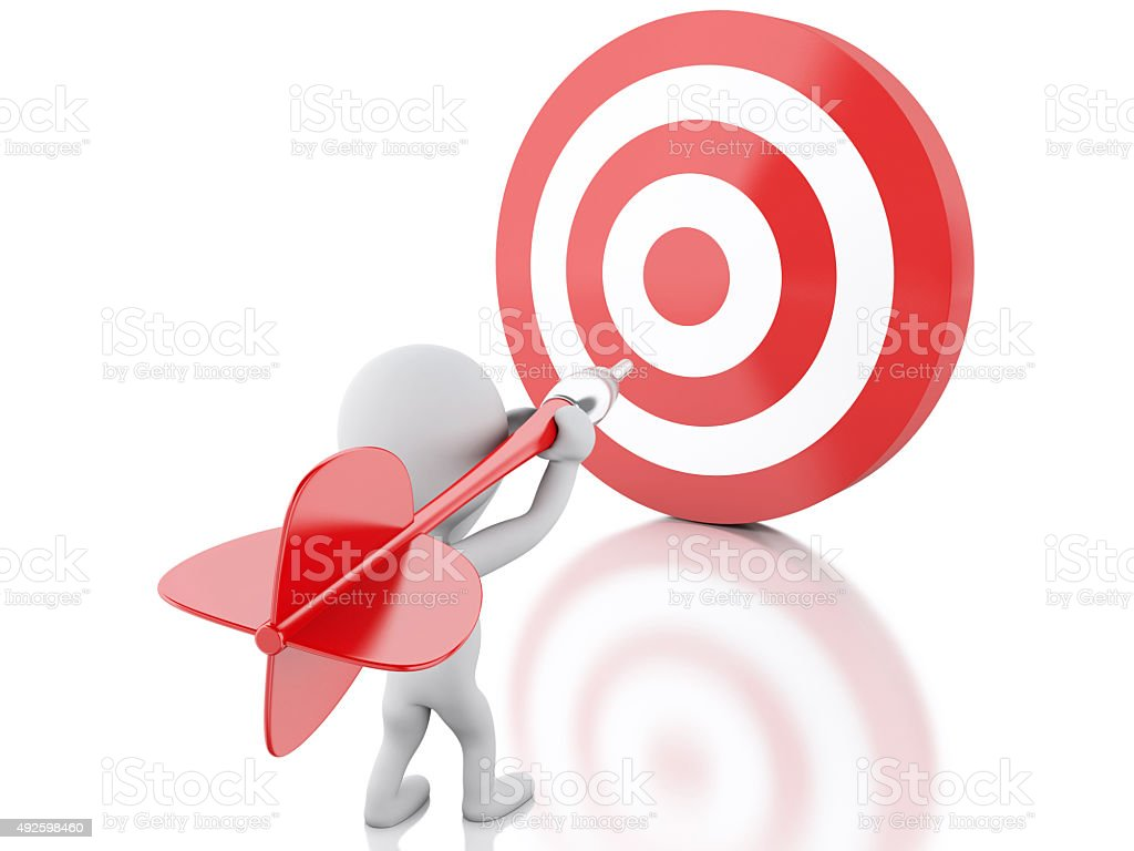 3d renderer image. White people with dart and target. Success in...