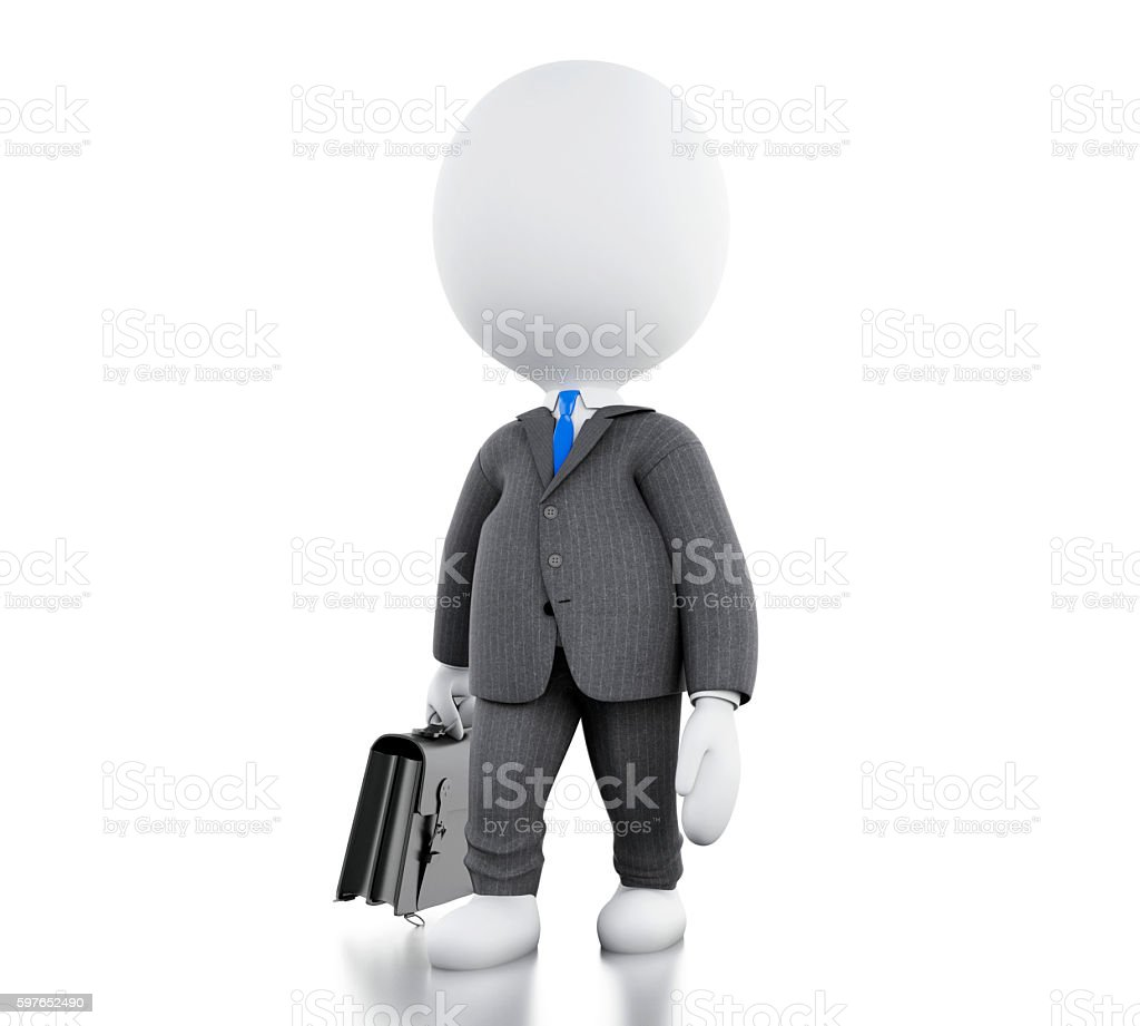 3d white people with his briefcase. stock photo