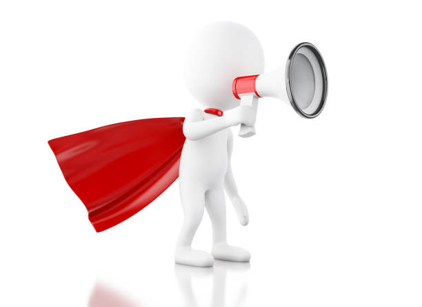 3d white people with red cape and megaphone stock photo