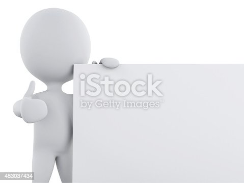 istock 3d white person with blank board 483037434