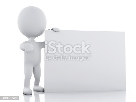 istock 3d white person with blank board 483037452