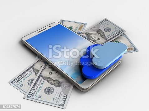 3d illustration of white phone over white background with banknotes and clouds