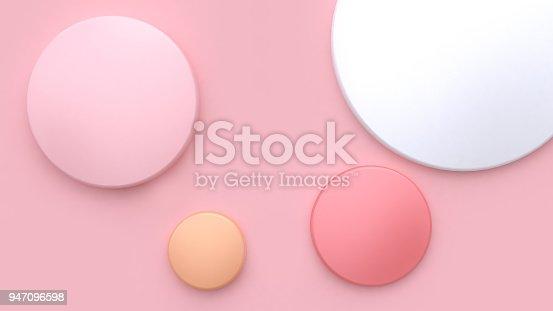 istock 3d white pink orange circle soft pink minimal background 3d rendering 947096598