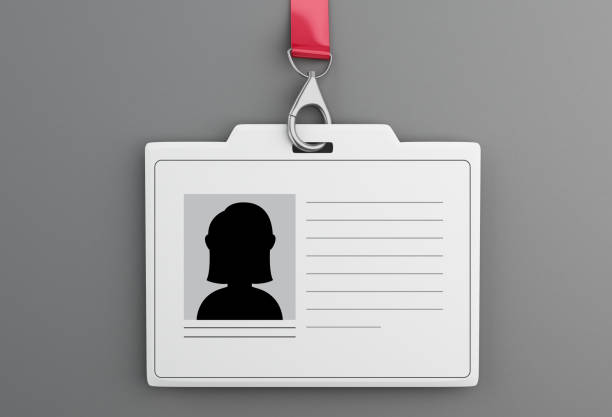 3d White plastic ID badge with lanyard stock photo