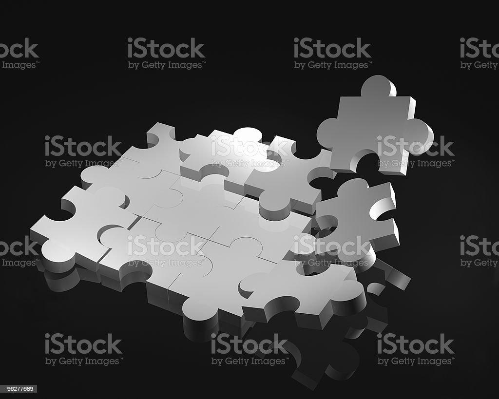3 d branco, quebra-cabeça - Foto de stock de Adversidade royalty-free