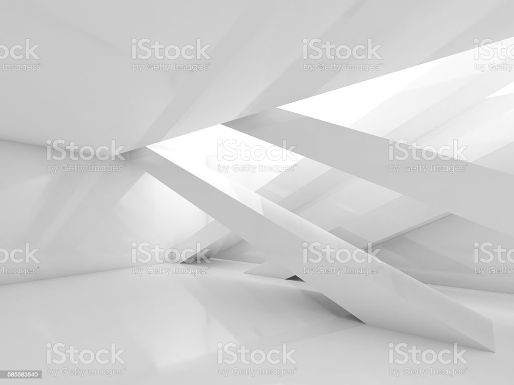 3d white room with beams interior stock photo