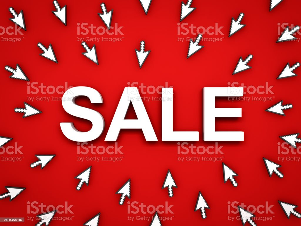 3d white sale word with arrow cursors on red background with shadow stock photo