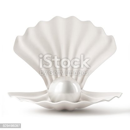 istock 3d White Shell with pearl isolated on white background 529498097