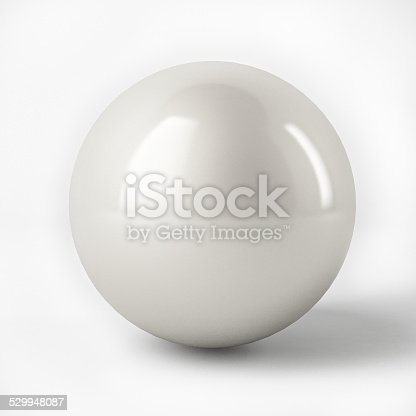 istock 3d White Sphere with reflection surface isolated over white 529948087