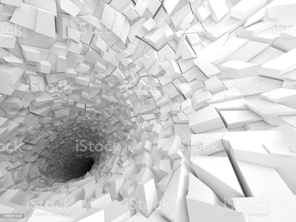3d white tunnel interior with black hole stock photo