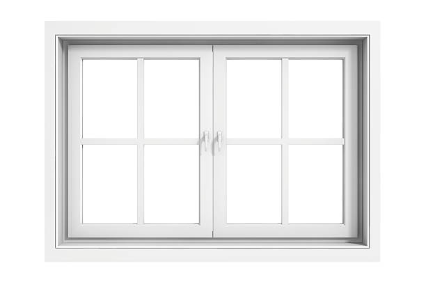 3d window frame on white background stock photo