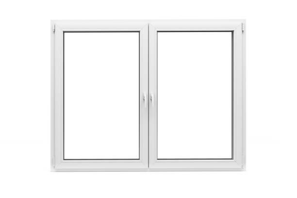 3d window frame on white background - foto stock